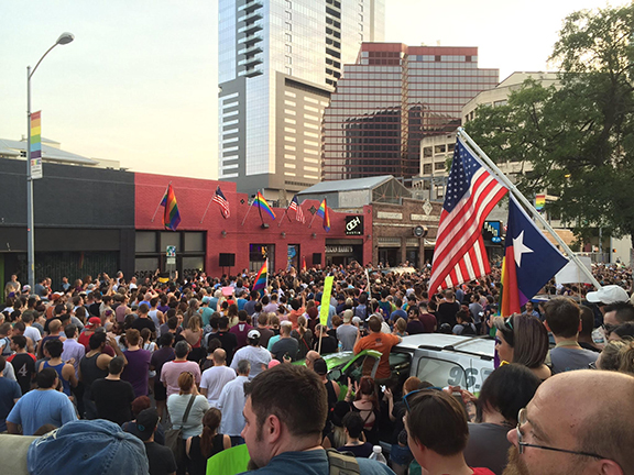 Houston vigil for victims of the Orlando, Florida, Pulse nightclub shooting