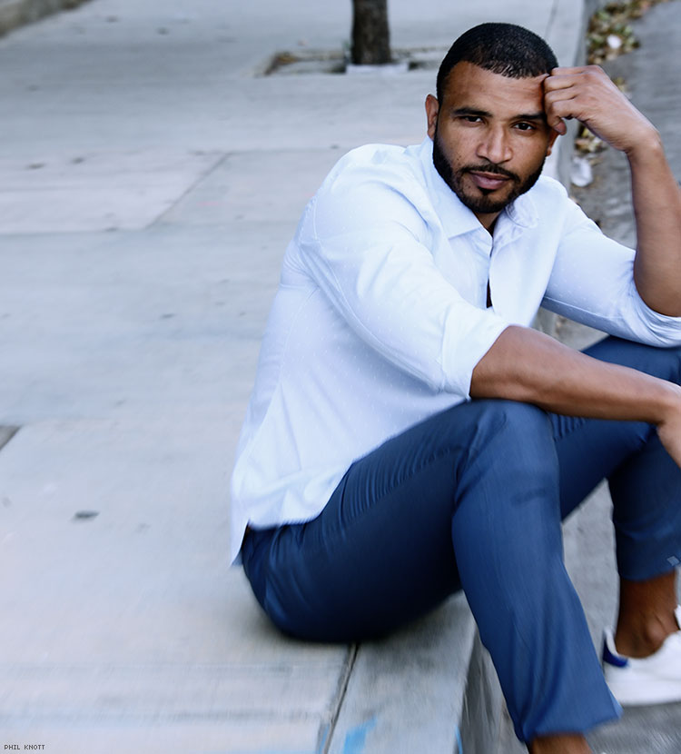 DeMarco Majors (Actor and out athlete, played pro basketball on the international circuit, He wrote, directed, stars in forthcoming movie, 7.)