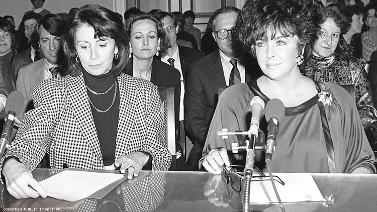 Nancy Pelosi and Elizabeth Taylor testifying before the House Budget Committee on HIV funding.