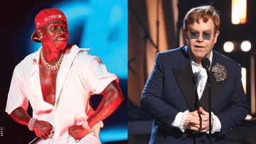 DaBaby on the left and Elton John on the right
