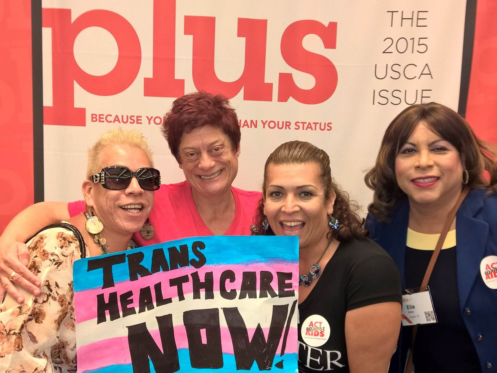 Barb Cardell, Bamby Salcedo and other activists at the U.S. Conference on AIDS