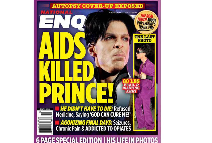 National Enquirer said Prince was dying of AIDS